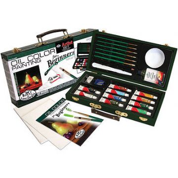 ARTISTS BEGINNERS 27 PIECE OIL ART SET IN CARRY CASE BY ROYAL & LANGNICKEL